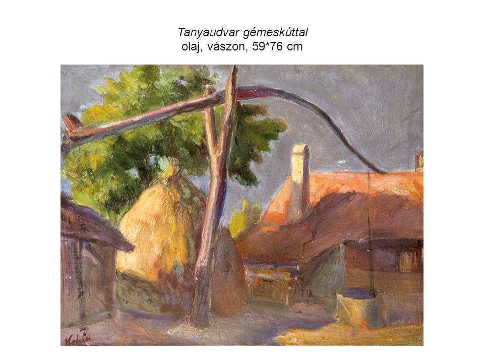 Tanyaudvar gémeskúttal olaj, vászon, 59*76 cm