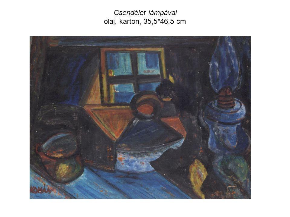 Csendélet lámpával olaj, karton, 35,5*46,5 cm