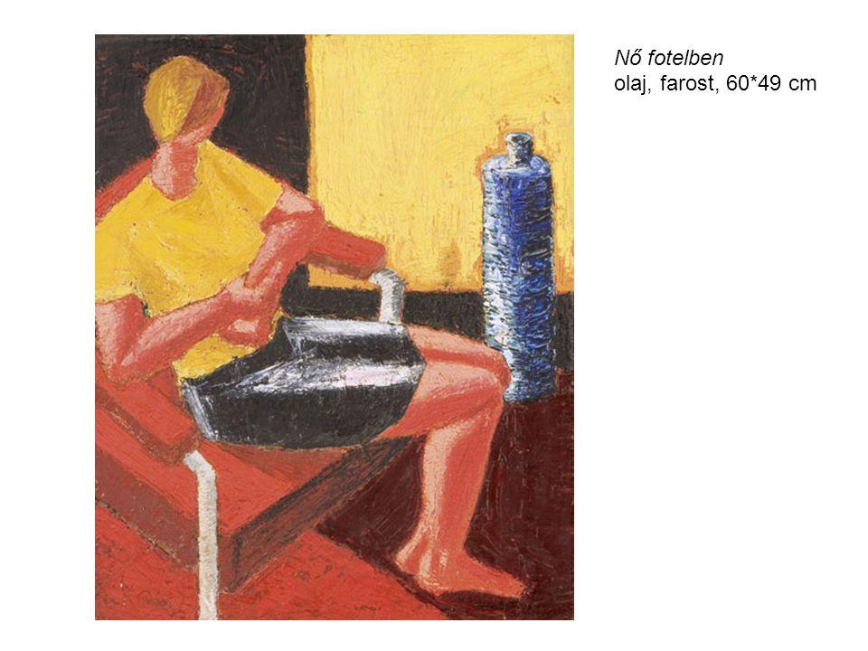 Nő fotelben olaj, farost, 60*49 cm