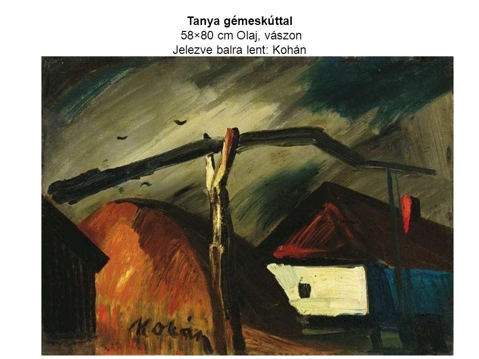 Tanya gémeskúttal 58×80 cm Olaj, vászon Jelezve balra lent: Kohán
