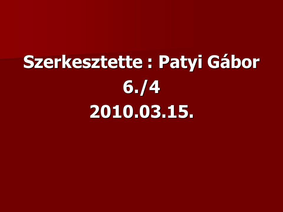 Szerkesztette : Patyi Gábor 6./42010.03.15.