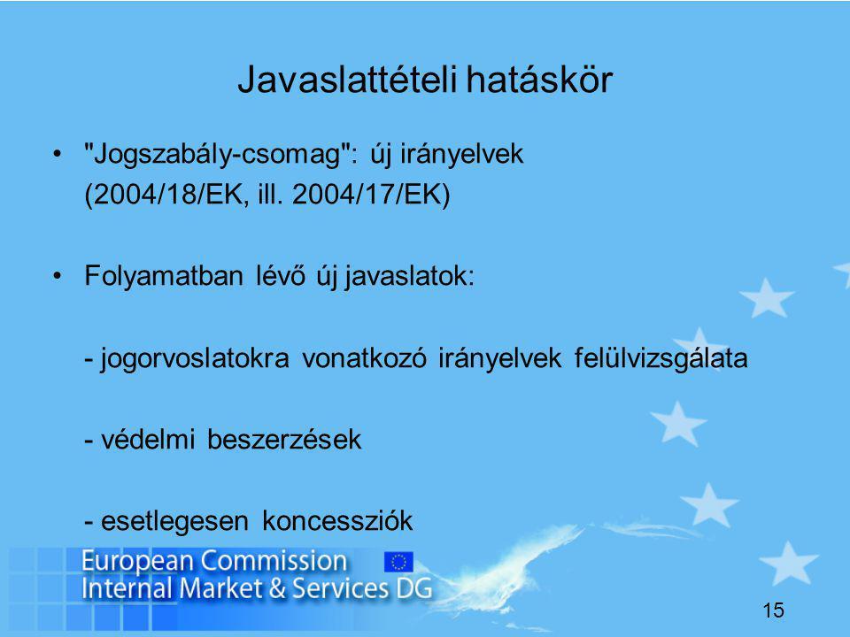15 Javaslattételi hatáskör Jogszabály-csomag : új irányelvek (2004/18/EK, ill.