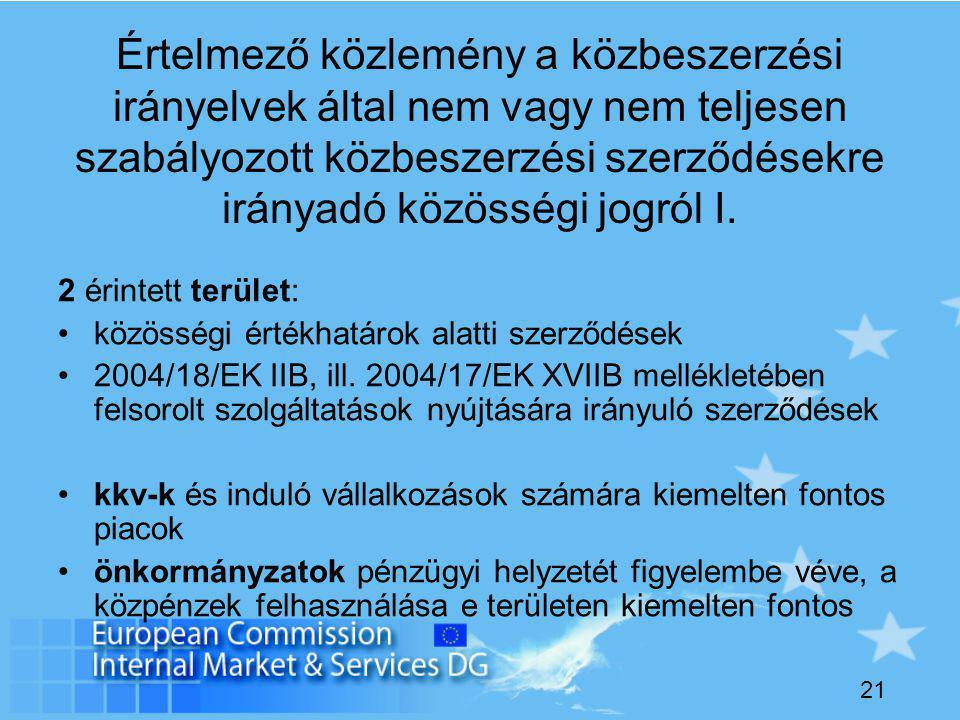 21 Értelmező közlemény a közbeszerzési irányelvek által nem vagy nem teljesen szabályozott közbeszerzési szerződésekre irányadó közösségi jogról I.
