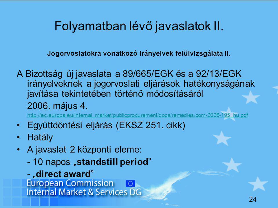 24 Folyamatban lévő javaslatok II. Jogorvoslatokra vonatkozó irányelvek felülvizsgálata II.