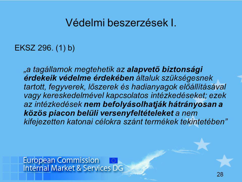 28 Védelmi beszerzések I. EKSZ 296.