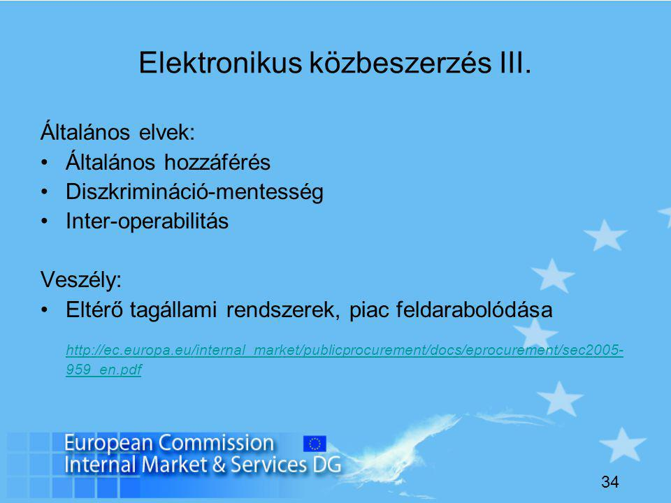 34 Elektronikus közbeszerzés III.