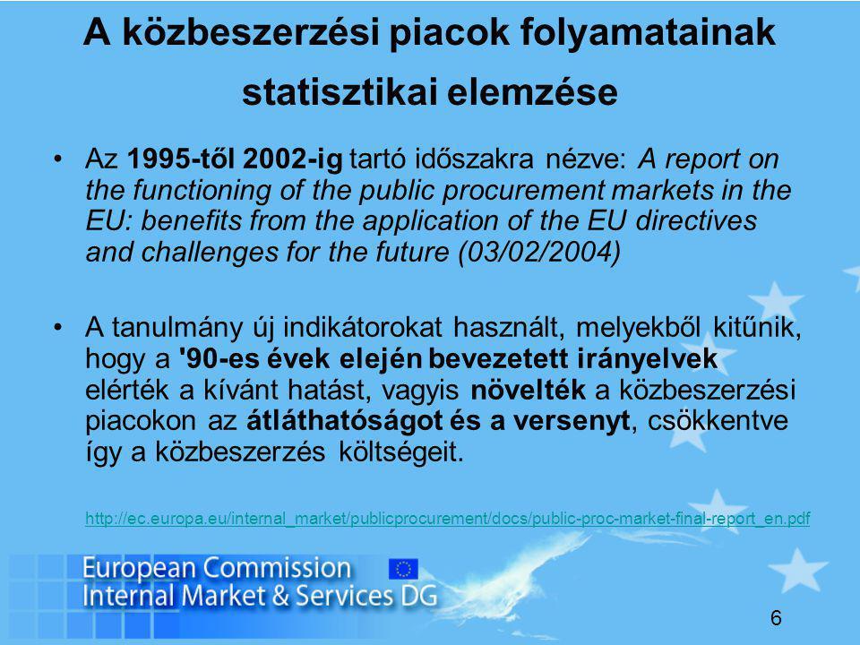 6 A közbeszerzési piacok folyamatainak statisztikai elemzése Az 1995-től 2002-ig tartó időszakra nézve: A report on the functioning of the public procurement markets in the EU: benefits from the application of the EU directives and challenges for the future (03/02/2004) A tanulmány új indikátorokat használt, melyekből kitűnik, hogy a 90-es évek elején bevezetett irányelvek elérték a kívánt hatást, vagyis növelték a közbeszerzési piacokon az átláthatóságot és a versenyt, csökkentve így a közbeszerzés költségeit.