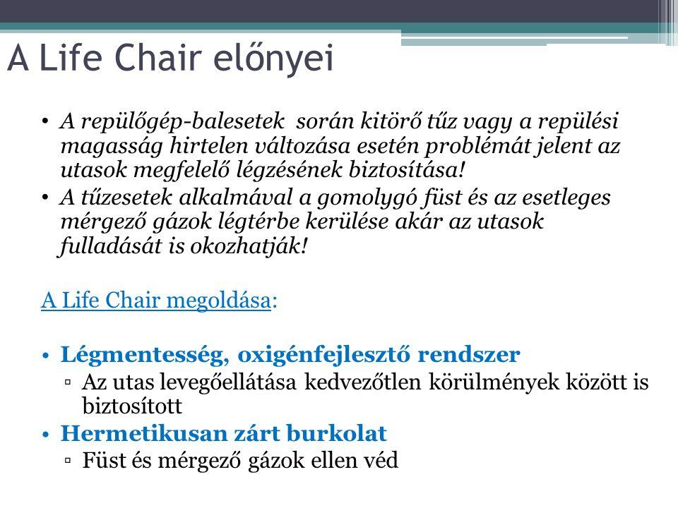 A Life Chair előnyei A repülőgép-balesetek során kitörő tűz vagy a repülési magasság hirtelen változása esetén problémát jelent az utasok megfelelő lé
