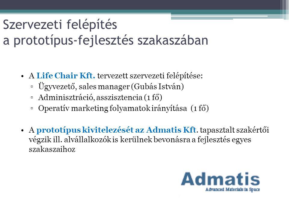 Szervezeti felépítés a prototípus-fejlesztés szakaszában A Life Chair Kft. tervezett szervezeti felépítése: ▫Ügyvezető, sales manager (Gubás István) ▫