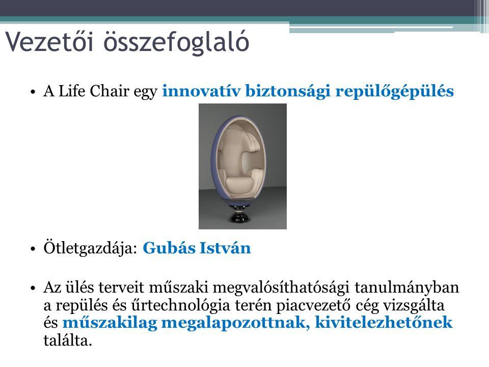 Vezetői összefoglaló A Life Chair egy innovatív biztonsági repülőgépülés Ötletgazdája: Gubás István Az ülés terveit műszaki megvalósíthatósági tanulmá