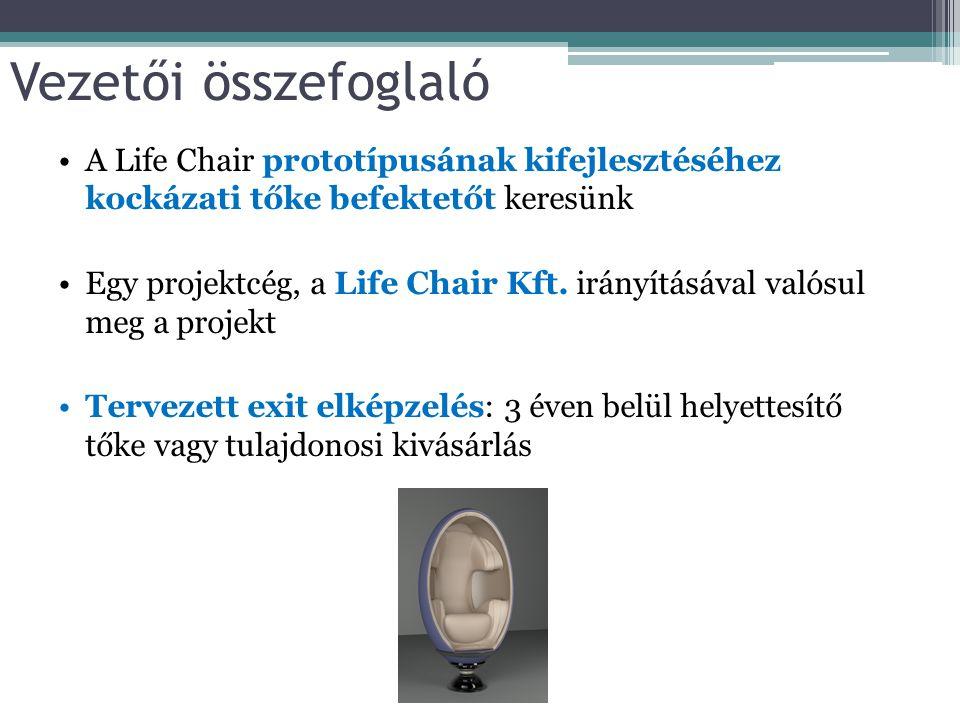 Vezetői összefoglaló A Life Chair prototípusának kifejlesztéséhez kockázati tőke befektetőt keresünk Egy projektcég, a Life Chair Kft. irányításával v