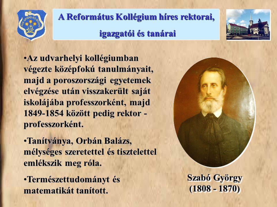 Az udvarhelyi kollégiumban végezte középfokú tanulmányait, majd a poroszországi egyetemek elvégzése után visszakerült saját iskolájába professzorként, majd 1849-1854 között pedig rektor - professzorként.Az udvarhelyi kollégiumban végezte középfokú tanulmányait, majd a poroszországi egyetemek elvégzése után visszakerült saját iskolájába professzorként, majd 1849-1854 között pedig rektor - professzorként.