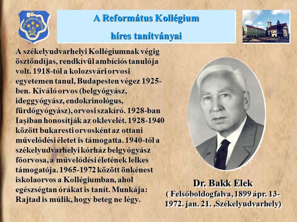 A székelyudvarhelyi Kollégiumnak végig ösztöndíjas, rendkívül ambíciós tanulója volt. 1918-tól a kolozsvári orvosi egyetemen tanul, Budapesten végez 1