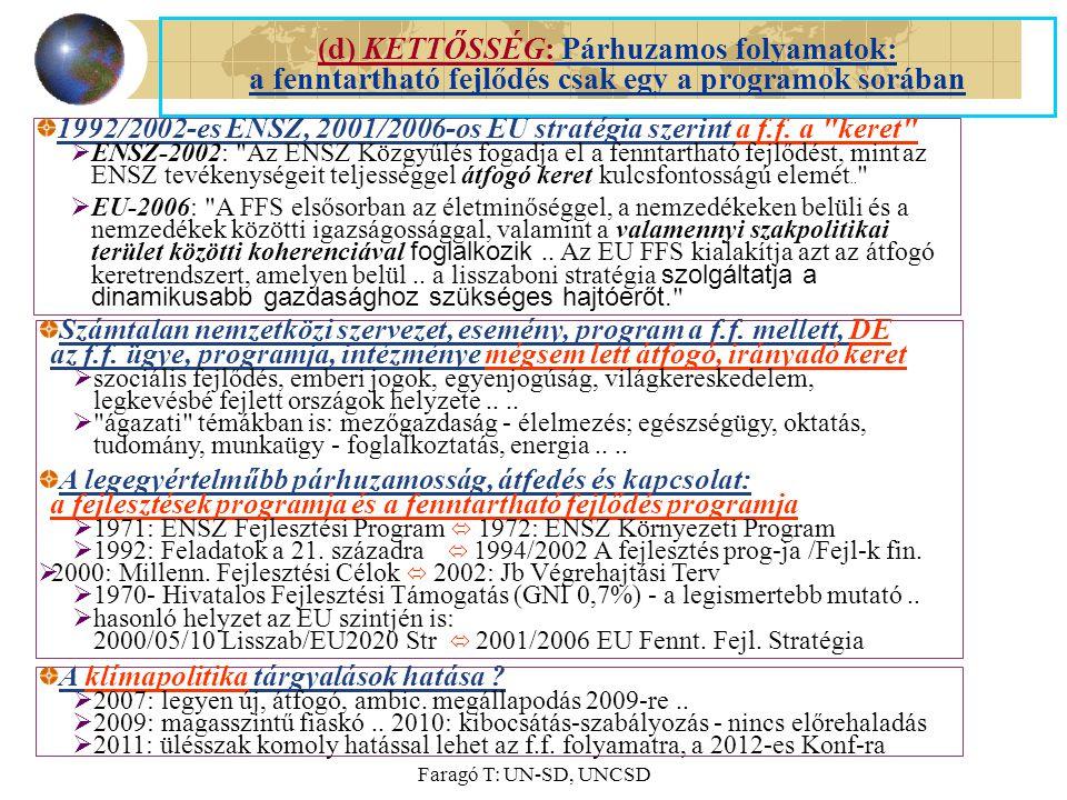 Faragó T: UN-SD, UNCSD (d) KETTŐSSÉG: Párhuzamos folyamatok: a fenntartható fejlődés csak egy a programok sorában 1992/2002-es ENSZ, 2001/2006-os EU stratégia szerint a f.f.