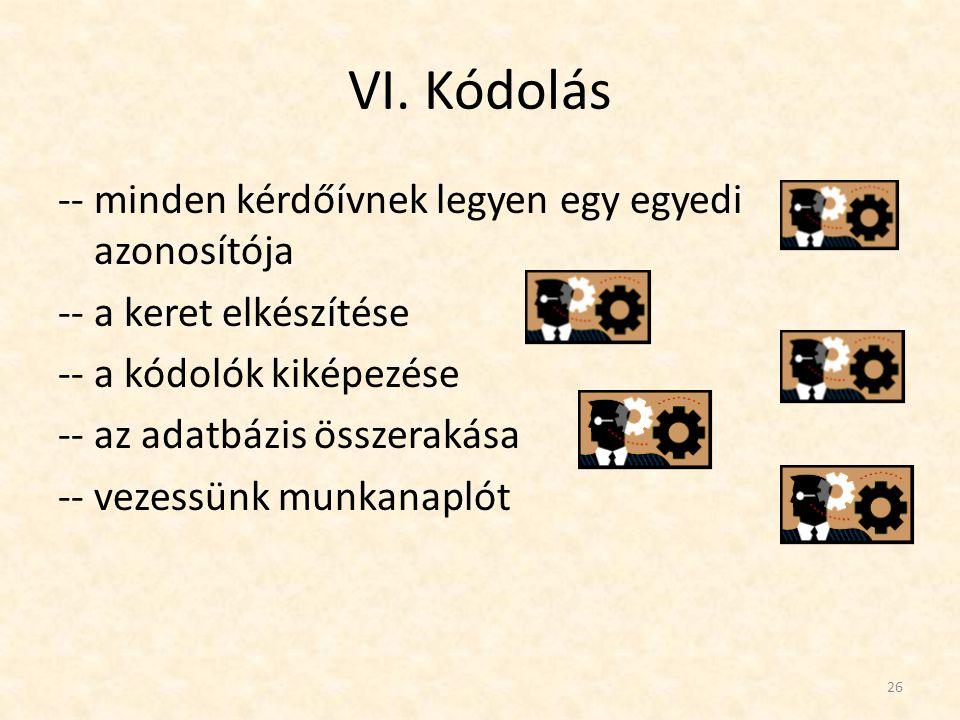 VI. Kódolás -- minden kérdőívnek legyen egy egyedi azonosítója -- a keret elkészítése -- a kódolók kiképezése -- az adatbázis összerakása -- vezessünk