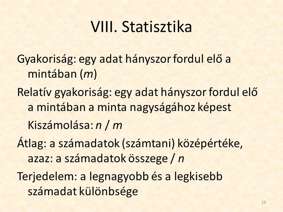 VIII. Statisztika Gyakoriság: egy adat hányszor fordul elő a mintában (m) Relatív gyakoriság: egy adat hányszor fordul elő a mintában a minta nagyságá