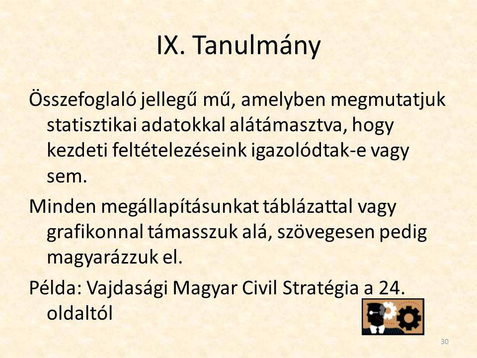 IX. Tanulmány Összefoglaló jellegű mű, amelyben megmutatjuk statisztikai adatokkal alátámasztva, hogy kezdeti feltételezéseink igazolódtak-e vagy sem.