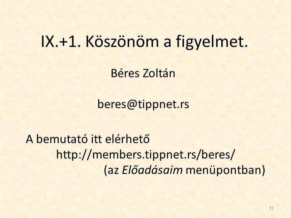 31 IX.+1. Köszönöm a figyelmet. Béres Zoltán beres@tippnet.rs A bemutató itt elérhető http://members.tippnet.rs/beres/ (az Előadásaim menüpontban)