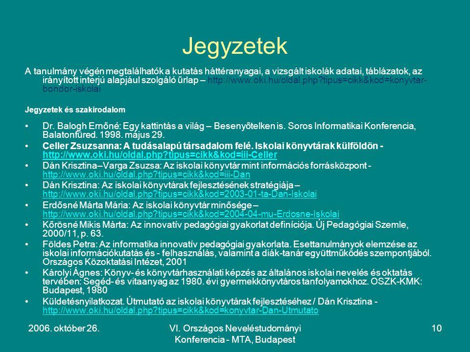 2006. október 26.VI. Országos Neveléstudományi Konferencia - MTA, Budapest 10 Jegyzetek A tanulmány végén megtalálhatók a kutatás háttéranyagai, a viz
