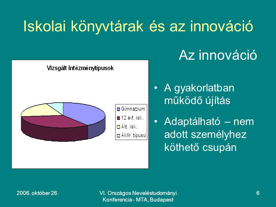 2006. október 26.VI. Országos Neveléstudományi Konferencia - MTA, Budapest 6 Iskolai könyvtárak és az innováció Az innováció A gyakorlatban működő újí