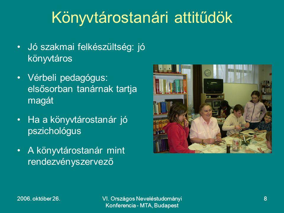 2006. október 26.VI. Országos Neveléstudományi Konferencia - MTA, Budapest 8 Könyvtárostanári attitűdök Jó szakmai felkészültség: jó könyvtáros Vérbel