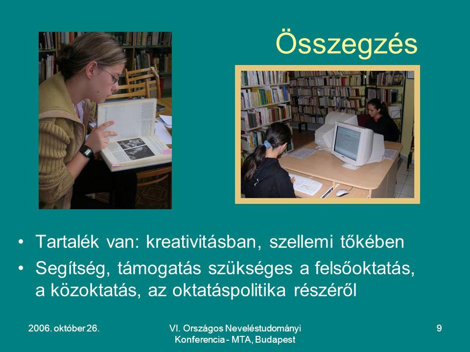 2006. október 26.VI. Országos Neveléstudományi Konferencia - MTA, Budapest 9 Összegzés Tartalék van: kreativitásban, szellemi tőkében Segítség, támoga