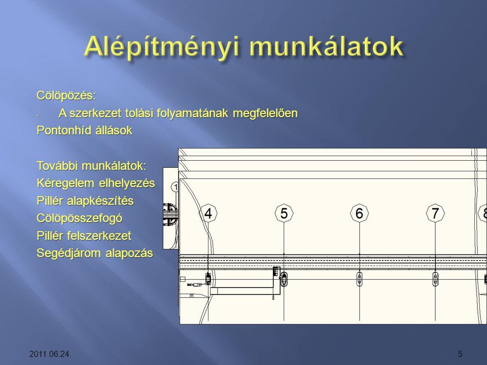 Cölöpözés: -A-A-A-A szerkezet tolási folyamatának megfelelően Pontonhíd állások További munkálatok: Kéregelem elhelyezés Pillér alapkészítés Cölöpössz