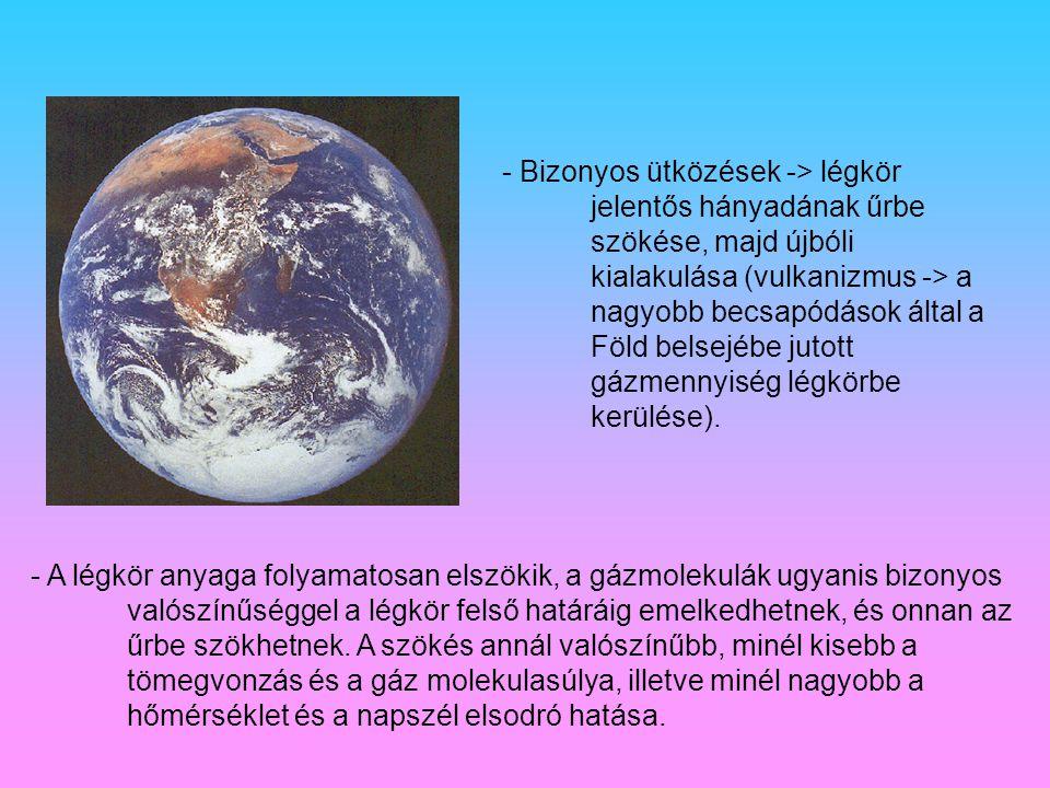 - Bizonyos ütközések -> légkör jelentős hányadának űrbe szökése, majd újbóli kialakulása (vulkanizmus -> a nagyobb becsapódások által a Föld belsejébe