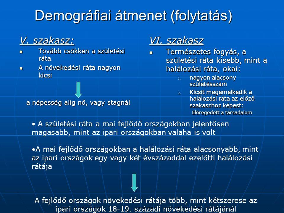 Demográfiai átmenet (folytatás) V. szakasz: Tovább csökken a születési ráta Tovább csökken a születési ráta A növekedési ráta nagyon kicsi A növekedés