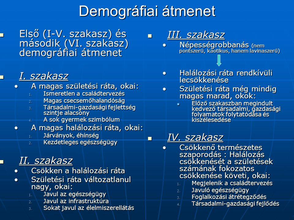 Demográfiai átmenet Első (I-V. szakasz) és második (VI. szakasz) demográfiai átmenet Első (I-V. szakasz) és második (VI. szakasz) demográfiai átmenet