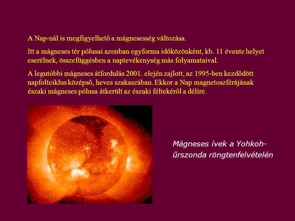 A Nap-nál is megfigyelhető a mágnesesség változása. Itt a mágneses tér pólusai azonban egyforma időközönként, kb. 11 évente helyet cserélnek, összefüg