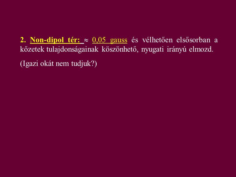 2. Non-dipol tér:  0,05 gauss és vélhetően elsősorban a kőzetek tulajdonságainak köszönhető, nyugati irányú elmozd. (Igazi okát nem tudjuk?)