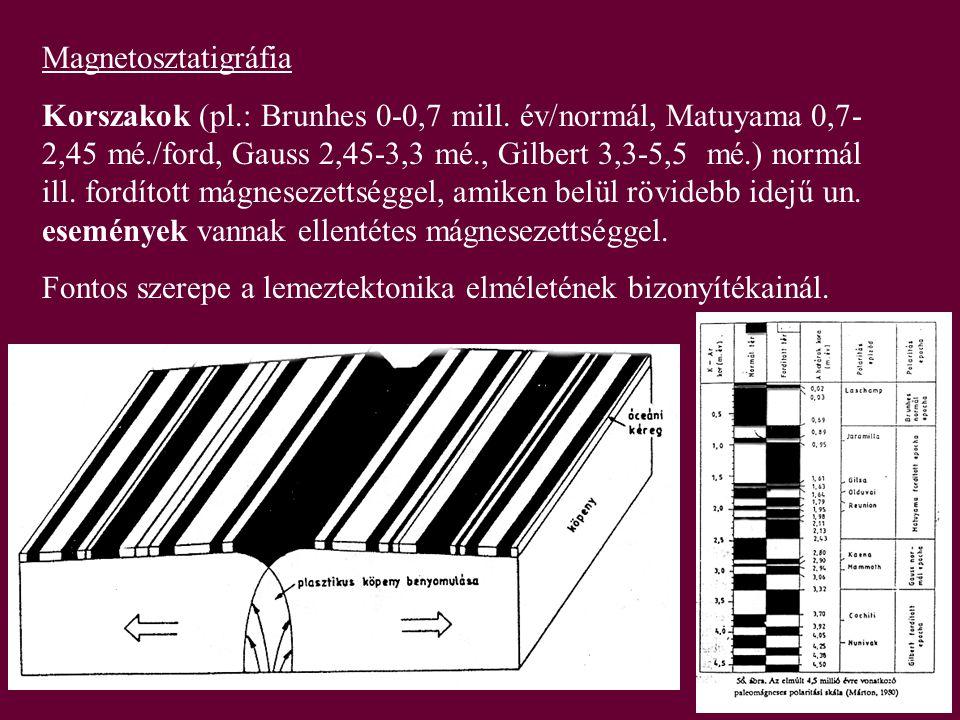 Magnetosztatigráfia Korszakok (pl.: Brunhes 0-0,7 mill. év/normál, Matuyama 0,7- 2,45 mé./ford, Gauss 2,45-3,3 mé., Gilbert 3,3-5,5 mé.) normál ill. f