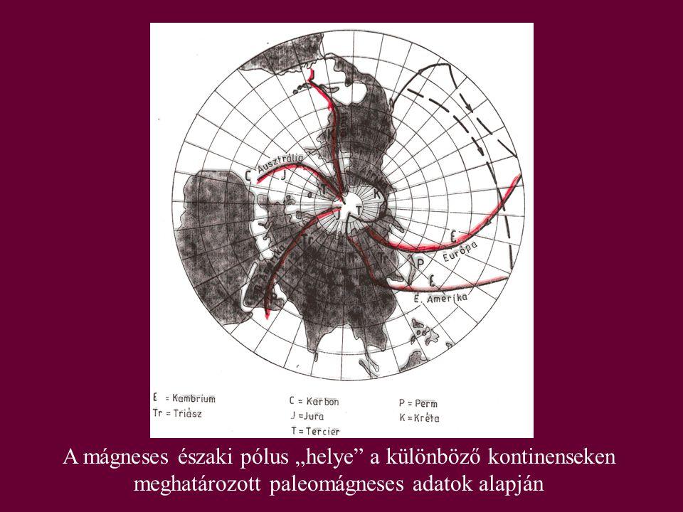 """A mágneses északi pólus """"helye"""" a különböző kontinenseken meghatározott paleomágneses adatok alapján"""