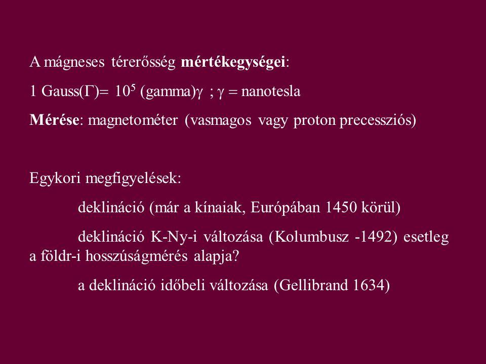 A mágneses térerősség mértékegységei: 1 Gauss(  )  10 5 (gamma)  ;   nanotesla Mérése: magnetométer (vasmagos vagy proton precessziós) Egykori megfigyelések: deklináció (már a kínaiak, Európában 1450 körül) deklináció K-Ny-i változása (Kolumbusz -1492) esetleg a földr-i hosszúságmérés alapja.