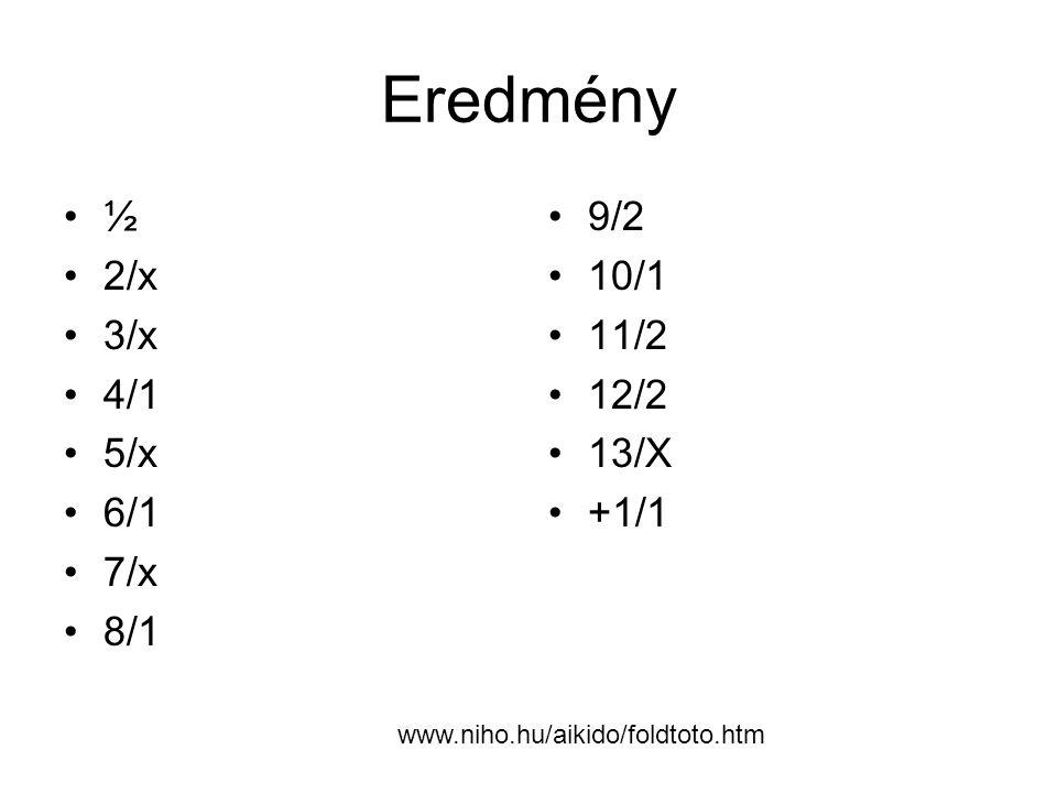 Eredmény ½ 2/x 3/x 4/1 5/x 6/1 7/x 8/1 9/2 10/1 11/2 12/2 13/X +1/1 www.niho.hu/aikido/foldtoto.htm