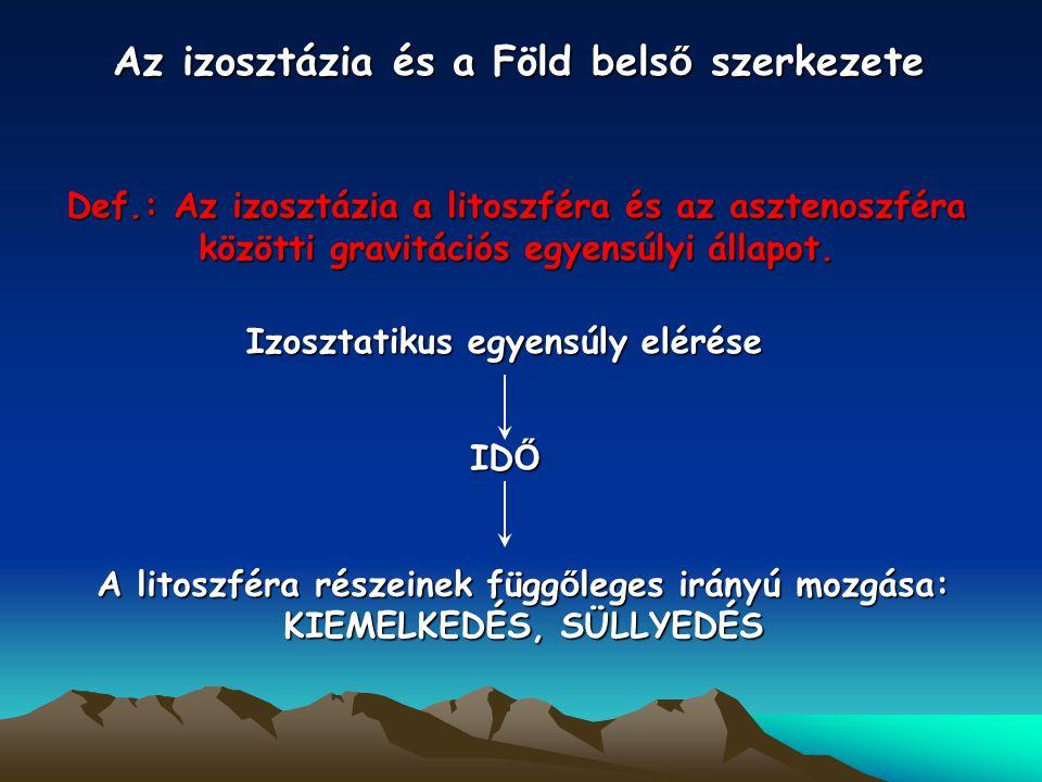 Az izosztázia és a Föld bels ő szerkezete Def.: Az izosztázia a litoszféra és az asztenoszféra közötti gravitációs egyensúlyi állapot.