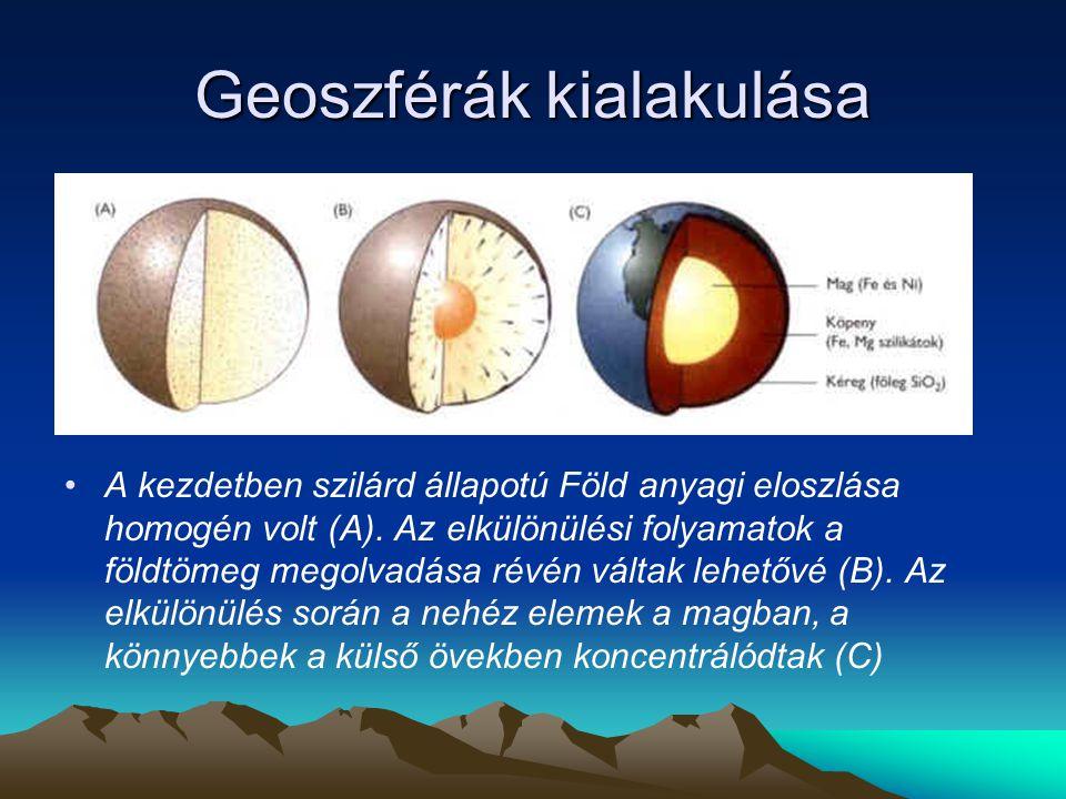 Geoszférák kialakulása A kezdetben szilárd állapotú Föld anyagi eloszlása homogén volt (A).