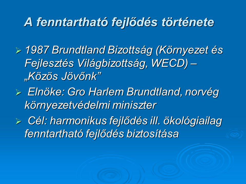 """A fenntartható fejlődés története  1987 Brundtland Bizottság (Környezet és Fejlesztés Világbizottság, WECD) – """"Közös Jövőnk""""  Elnöke: Gro Harlem Bru"""