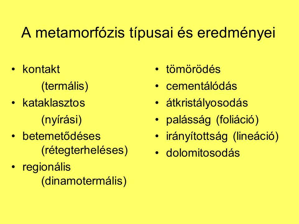 A metamorfózis típusai és eredményei kontakt (termális) kataklasztos (nyírási) betemetődéses (rétegterheléses) regionális (dinamotermális) tömörödés c