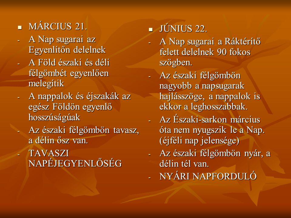 MÁRCIUS 21. MÁRCIUS 21. - A Nap sugarai az Egyenlítőn delelnek - A Föld északi és déli félgömbét egyenlően melegítik - A nappalok és éjszakák az egész