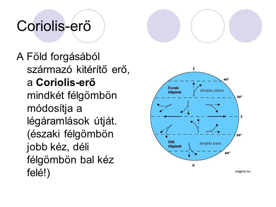 Coriolis-erő A Föld forgásából származó kitérítő erő, a Coriolis-erő mindkét félgömbön módosítja a légáramlások útját. (északi félgömbön jobb kéz, dél