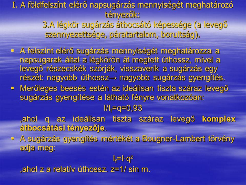 I. A földfelszínt elérő napsugárzás mennyiségét meghatározó tényezők: 3.A légkör sugárzás átbocsátó képessége (a levegő szennyezettsége, páratartalom,