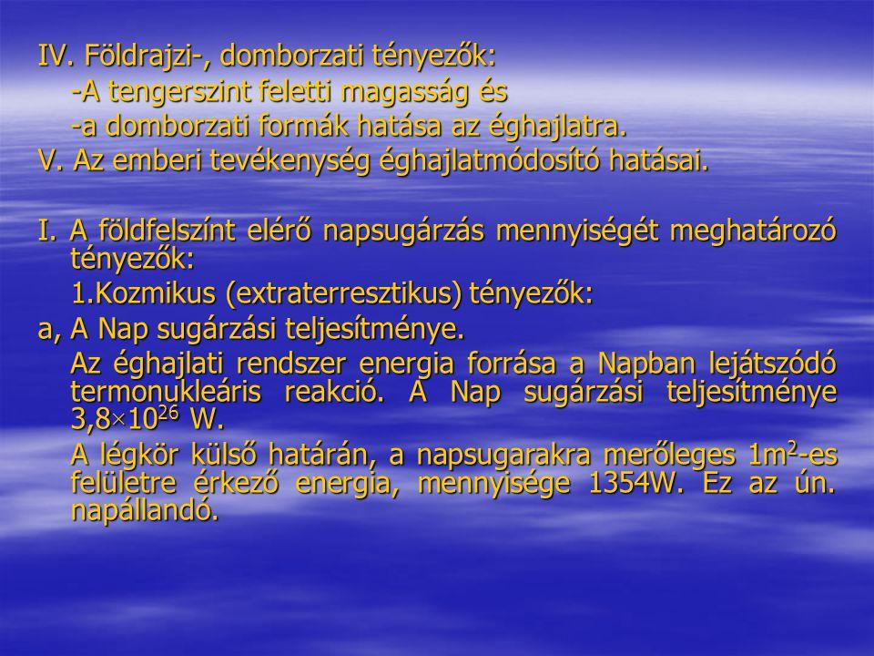 IV. Földrajzi-, domborzati tényezők: -A tengerszint feletti magasság és -a domborzati formák hatása az éghajlatra. V. Az emberi tevékenység éghajlatmó
