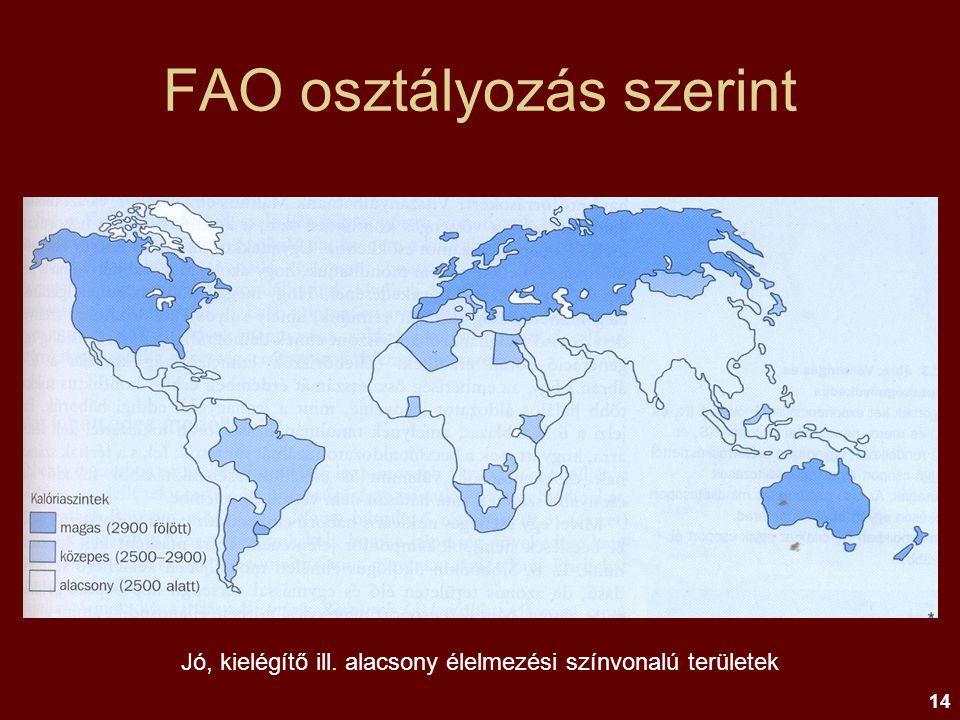 14 FAO osztályozás szerint Jó, kielégítő ill. alacsony élelmezési színvonalú területek