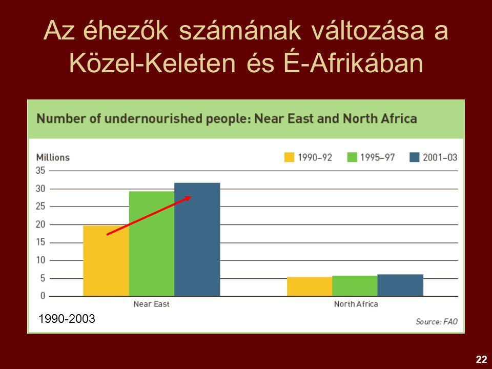 22 Az éhezők számának változása a Közel-Keleten és É-Afrikában 1990-2003