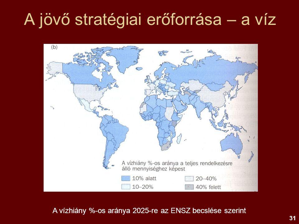 31 A jövő stratégiai erőforrása – a víz A vízhiány %-os aránya 2025-re az ENSZ becslése szerint
