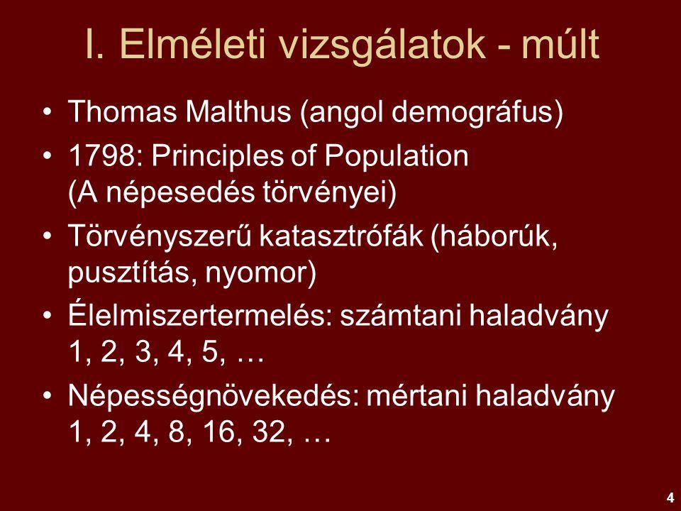 4 I. Elméleti vizsgálatok - múlt Thomas Malthus (angol demográfus) 1798: Principles of Population (A népesedés törvényei) Törvényszerű katasztrófák (h