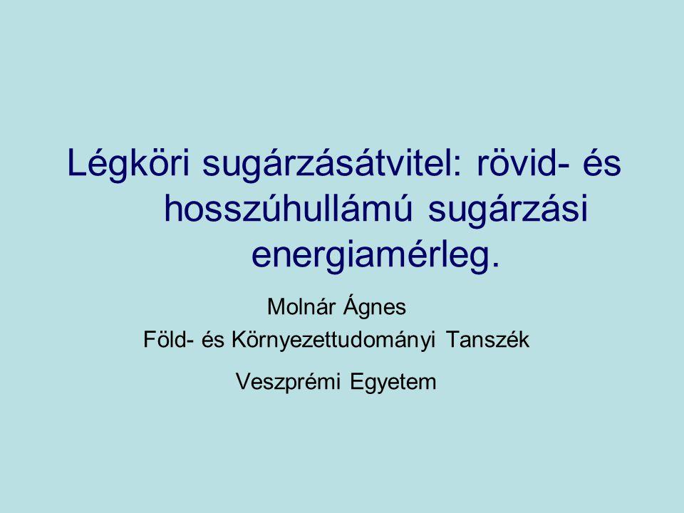 Légköri sugárzásátvitel: rövid- és hosszúhullámú sugárzási energiamérleg. Molnár Ágnes Föld- és Környezettudományi Tanszék Veszprémi Egyetem