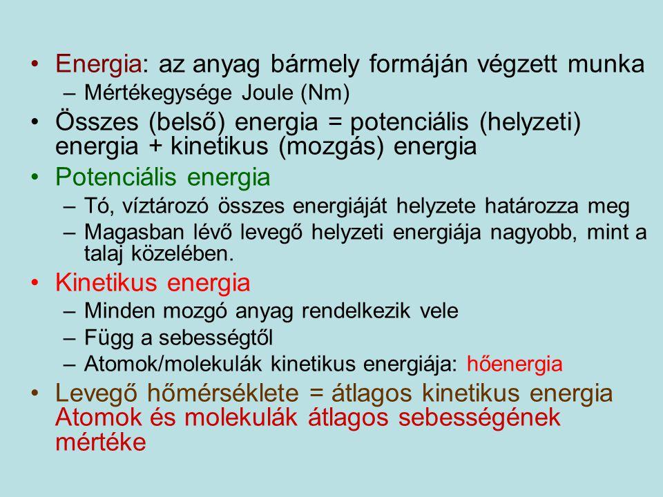 Energia: az anyag bármely formáján végzett munka –Mértékegysége Joule (Nm) Összes (belső) energia = potenciális (helyzeti) energia + kinetikus (mozgás